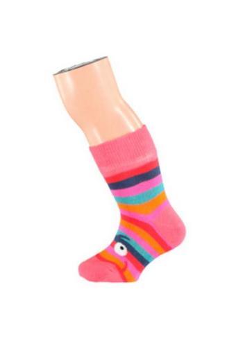 blije talkie walkie gestreepte sokjes coraal  Kousen  Kousen/sokken