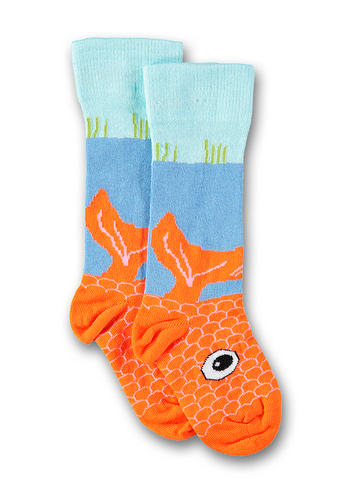 Kniekous Fish talkie walkie orange  Kousen  Kniekousen