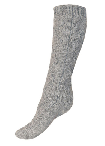 Kniekousen in wol met kabel zandgrijs  Kousen  Kniekousen