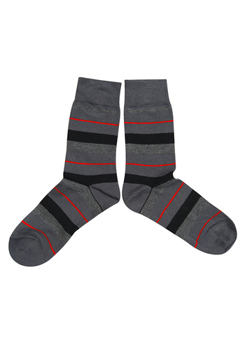 sokken strepen grijs/zwart/rood  Kousen  Kousen/sokken