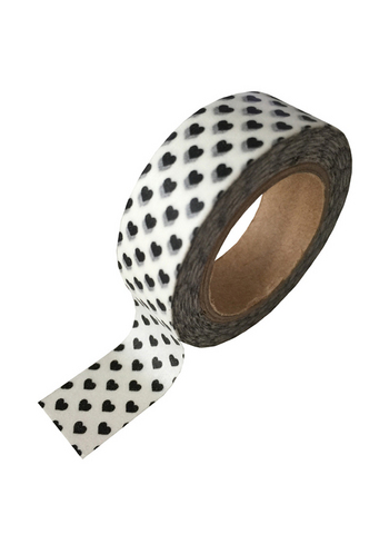 Washi/masking tape white + black heart  Karton  Masking tape/Washi tape