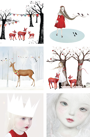 Kerstkaartenset 'Witte kerst'  Karton  Kaartjes