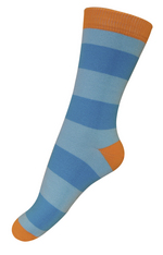 sokken brede strepen blauw/oranje  Kousen