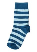 Sokken gestreept petrol/licht blauw  Kousen