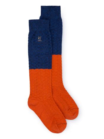 Blue and Red Long Sock  Kousen  Kniekousen