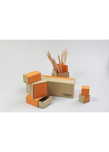 bureau set 7 doosjes - oranje  Karton  Interieurdecoratie