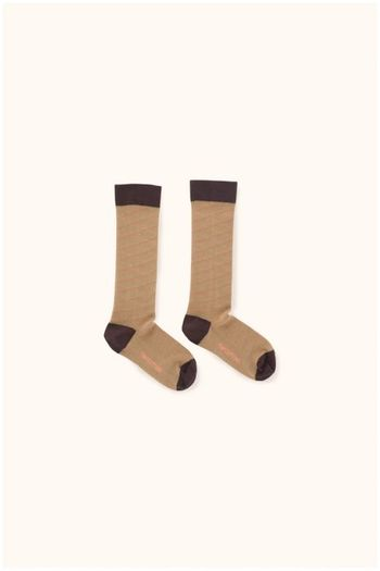 diagonal stripes high socks dark nude/plum  Kousen  Kniekousen