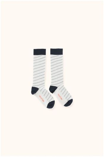 diagonal stripes high socks light grey/navy  Kousen  Kniekousen