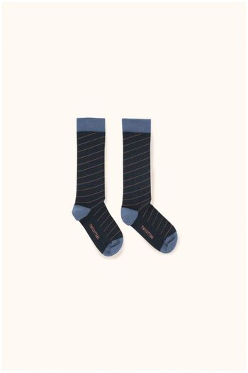 diagonal stripes high socks navy/light navy  Kousen  Kniekousen