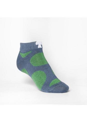 golfsok/ lage sok/ enkelsok grijs met groene bollen  Kousen  Kousen/sokken