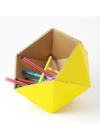 Klein mandje ICO - geel  Karton  Interieurdecoratie