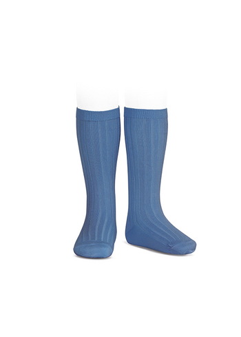 Kniekousen fijne rib frans blauw  Kousen  Kniekousen