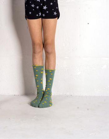 lange kous 'ster' oceaan groen  Kousen  Kousen/sokken