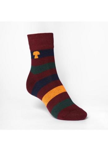 kousen/sokken gestreept bordeaux/donkerblauw/oker  Kousen  Kousen/sokken