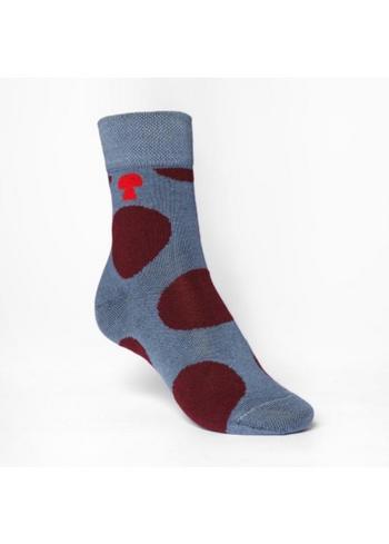 kousen/sokken grote bollen bordeaux/grijs  Kousen  Kousen/sokken