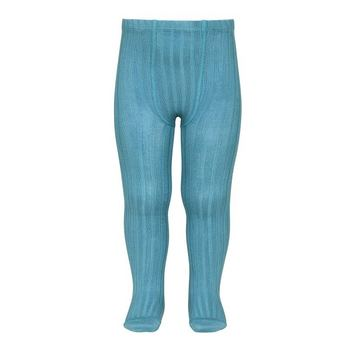 Kousenbroek met fijne rib turquoise  Kousen  Kousenbroeken - Panty's