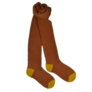 Kousenbroek met opliggend harlekijn motief Leather brown  Kousen  Kousenbroeken - Panty's
