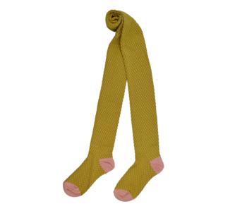 Kousenbroek met opliggend harlekijn motief Oker  Kousen  Kousenbroeken - Panty's