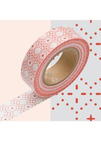Masking Tape Wit met rood stippeltjes patroon  Karton  Masking tape/Washi tape