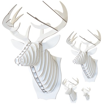 Micro Fred - small moose trophy - white  Karton  Interieurdecoratie
