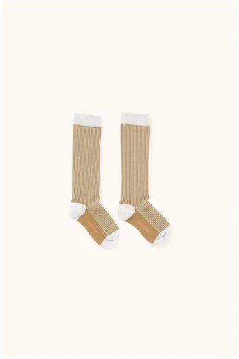 multi lines high socks light grey/dark nude  Kousen  Kniekousen