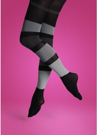 Panty/broekkous: Brede strepen zwart met grijs  Kousen  Kousenbroeken - Panty's