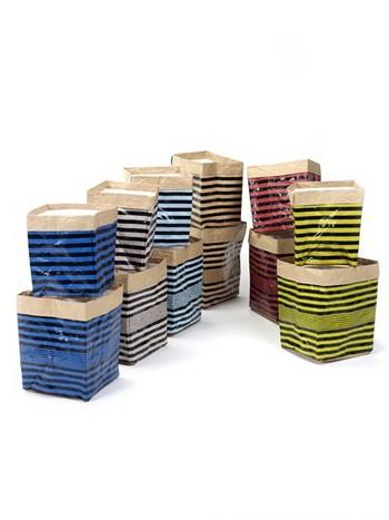 Papierzak Marie print lijnen set van 2 blauw/zwart gestreept  Karton  Interieurdecoratie