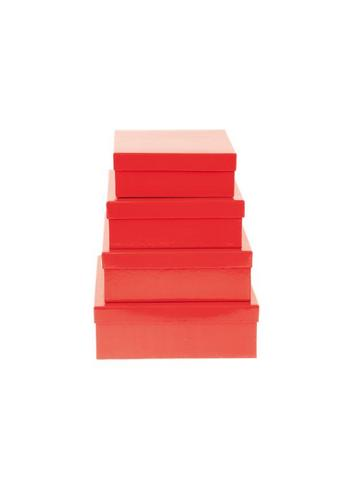 Set van 4 vierkante opbergdozen rood  Karton  Opbergen