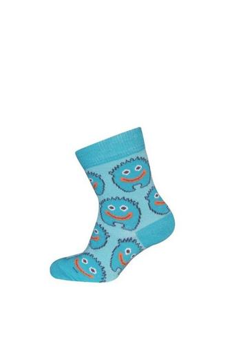 Sokje blauw met lief monstertje/mannetje  Kousen  Kousen/sokken