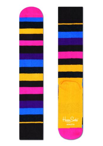Sokken 'Athletic' stripe bruin/geel  Kousen  Sportkousen