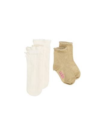 Sokken duo pack Dora ecru + gold  Kousen  Kousen/sokken