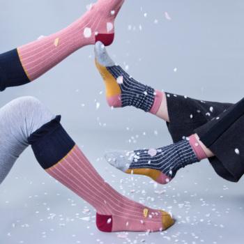 Sokken Marine met lurex zilver  Kousen  Kousen/sokken