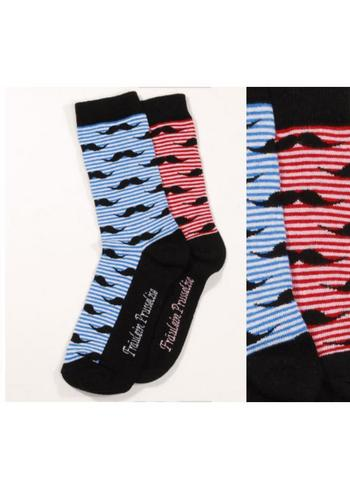 Sokken meneer moustache blauw  Kousen  Kousen/sokken