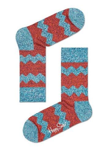 Sokken Wol Zig Stripe Orange red/ sof green  Kousen  Kousen/sokken