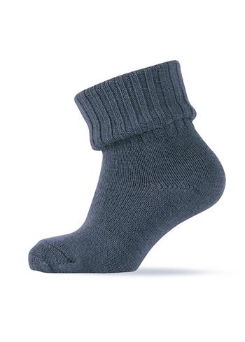 Warme wollen sokken - met sterke rib aan been - gemêleerd blauw  Kousen  Kousen/sokken