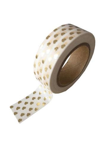 washi/masking tape white + foil gold hearts  Karton  Masking tape/Washi tape