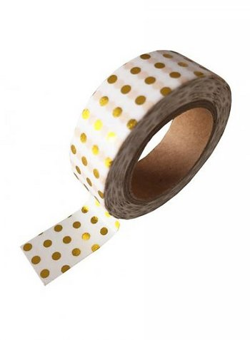 washi/masking tape white gold foil dots  Karton  Masking tape/Washi tape