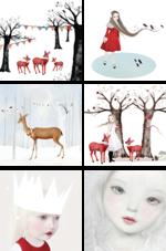 Kerstkaartenset 'Witte kerst'  Karton  Kaartjes enzo