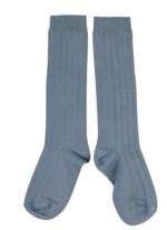 Kniekousen met brede rib Flint / Grijsblauw  Kousen
