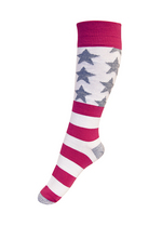 Kniekousen strepen en sterren pink/wit/grijs  Kousen  Kniekousen