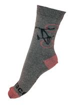 Sok Fiets  gemeleerd grijs en bordeaux  Kousen  Kousen/sokken