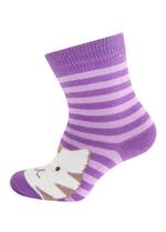 Sokken Gestreepte kat licht paars  Kousen