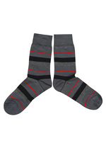 sokken strepen grijs/zwart/rood  Kousen