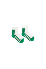 'STRIPES' QUARTER SOCKS off-white/green  Kousen