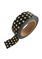 washi/masking tape Black gold foil dots  Karton